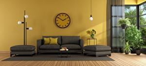 Pictures Interior Clock Living room Design Couch Pillows 3D Graphics
