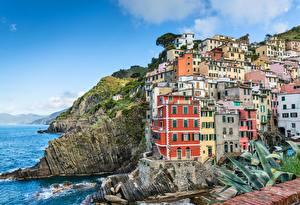Bilder Italien Küste Parks Cinque Terre Park Felsen Riomaggiore Städte