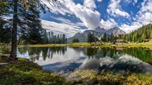 Image Italy Mountains Lake Scenery Alps Clouds Trees Lake Misurina