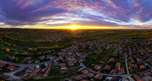 Pictures Italy Sunrise and sunset Houses Roads Sky From above Sun Rivanazzano Lombardia Cities