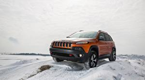 Pictures Jeep Winter Snow Orange Sport utility vehicle Cherokee Trailhawk, 2015 Cars
