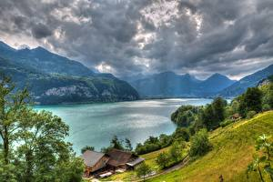 Wallpapers Lake Mountain Houses Switzerland Alps Storm cloud HDR Lake Walensee