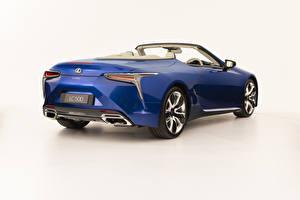 Bilder Lexus Cabrio Blau Metallisch Weißer hintergrund LC 500 Convertible, AU-spec, 2020 Autos