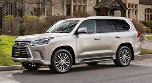 Hintergrundbilder Lexus Seitlich Silber Farbe Sport Utility Vehicle LX 570, CA-spec, 2016 auto