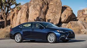 Fotos Lexus Steine Seitlich Blau Limousine ES 350, US-spec, 2015 Autos