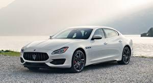 Wallpapers Maserati Sedan White Metallic Quattroporte, GTS, GranSport, US-spec, 2018