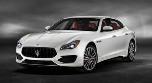Desktop wallpapers Maserati White Sedan Quattroporte GTS, GranSport, US-spec, 2018, Luxury auto