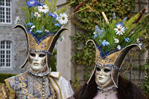 Pictures Masks Carnival and masquerade Bouquets Two