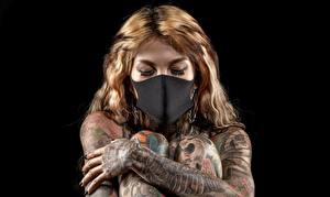 Pictures Masks Tattoos Black background Hands young woman