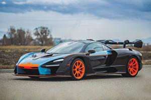 Bakgrundsbilder på skrivbordet McLaren Svart Metallisk 2019 MSO Senna Gulf Oil Theme