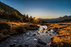 Wallpapers Mountains Rivers Stones Sunrise and sunset Autumn Andorra Sorteny, Pyrenees Nature