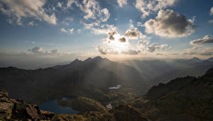 Wallpapers Mountain Sky Andorra Clouds Rays of light Pyrenees