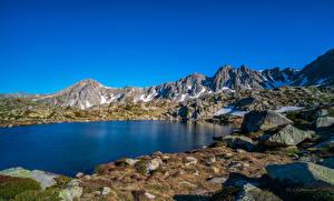 Hintergrundbilder Gebirge Steine See Himmel Felsen Grau Roig, Andorra