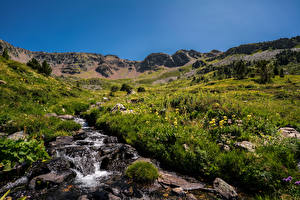 Hintergrundbilder Gebirge Stein Andorra Bach Gras Ordino