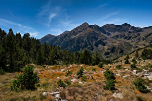 Picture Mountain Stones Sky Andorra Trees Pyrenees Nature