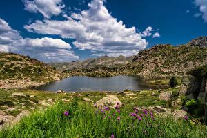 Hintergrundbilder Gebirge Steine Himmel See Wolke Lakes Pessons, Andorra