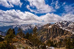 Fotos Gebirge Stein Himmel Andorra Wolke Bäume Ordino Natur