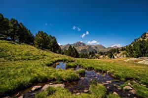 Picture Mountain Stones Sky Streams Stream Grass Ordino