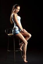 Images Chair Sitting Beautiful Legs Shorts Sleeveless shirt Staring Modelling Nastya, Evgeniy Bulatov Girls