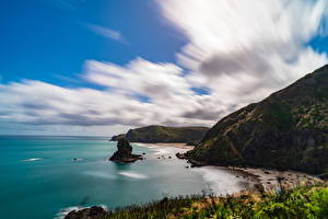 Fotos Neuseeland Küste Felsen Wolke Piha Beach Natur