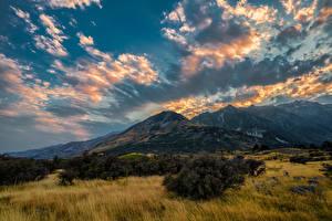 Bilder Neuseeland Parks Gebirge Himmel Wolke Aoraki National Park Natur