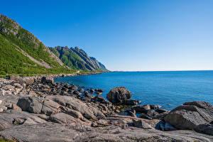 Wallpapers Norway Coast Lofoten Stone Sky