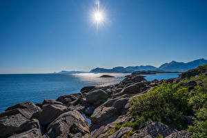 Pictures Norway Lofoten Coast Mountains Stones Sun
