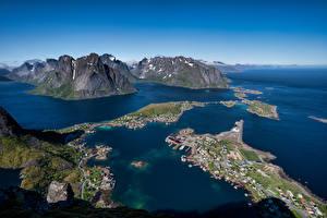 Hintergrundbilder Norwegen Lofoten Berg Von oben Reine Natur