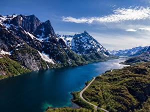 Bilder Norwegen Lofoten Berg Wege Schnee  Natur