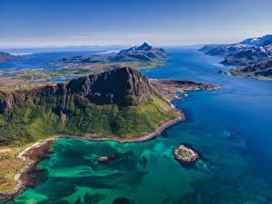 Fotos Norwegen Lofoten Gebirge Meer Von oben Natur