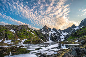 Picture Norway Lofoten Mountain Stones Sky Snow Clouds Nature