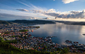 Wallpaper Norway Mountains Bergen Building Sky From above fjord