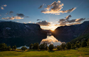 Photo Norway Mountains Evening Sunrises and sunsets Sky Clouds Fjord Aurlandsvangen Nature