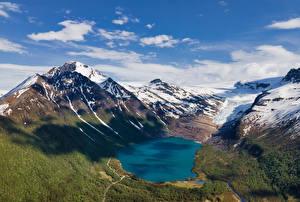 Bilder Norwegen Gebirge See Schnee Wolke Svartisvatnet