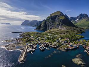 Fotos Norwegen Gebirge Lofoten Von oben Natur