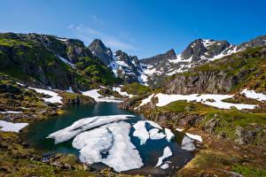 Fotos Norwegen Gebirge Lofoten See Schnee Natur