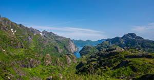 Fotos Norwegen Berg Lofoten Himmel Felsen