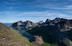 Fotos Norwegen Gebirge Lofoten Himmel Moskenes
