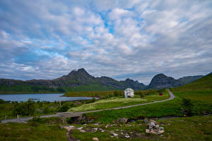 Pictures Norway Mountains Lofoten Stones Roads Clouds Selfjord Nature
