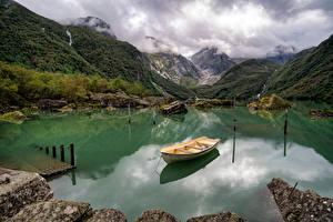 Bilder Norwegen Gebirge Park See Boot Folgefonna National Park Natur