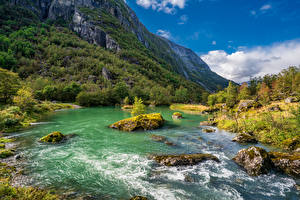 Image Norway Mountain Parks River Stones Trees Folgefonna National Park Nature