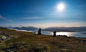 Picture Norway Stone Sky Meadow Sun