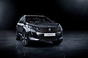 Bakgrundsbilder på skrivbordet Peugeot CUV Grå Metallisk Framifrån 3008 GT, 2020 bil