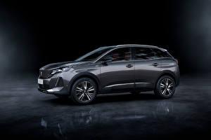 Desktop hintergrundbilder Peugeot Crossover Graue Metallisch Seitlich 3008 GT, 2020 Autos