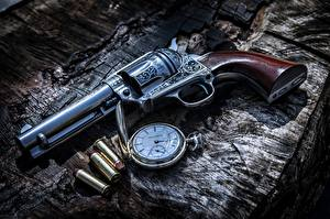 Picture Pistol Clock Pocket watch Bullets Revolver Army