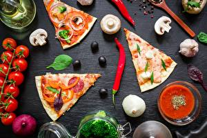 Wallpapers Pizza Mushrooms Tomatoes Chili pepper Olive Pieces