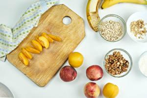 Wallpapers Plums Peaches Walnut Muesli Cutting board