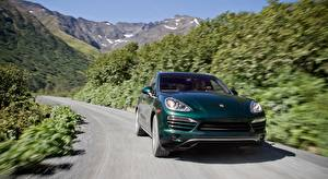 Images Porsche Roads Green Front CUV Motion Bokeh Cayenne Diesel, US-spec, 2012 automobile