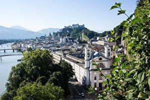 Wallpapers Rivers Bridges Salzburg Austria Hill Cities