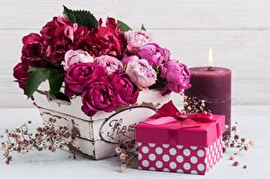 Wallpapers Rose Bouquet Candles Box Gifts Bowknot Flowers